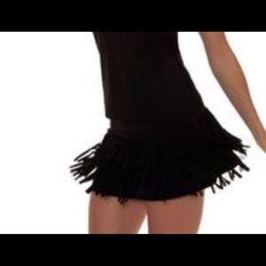 Lucky in Love Women's Laser Cut Fringe Skirt Black